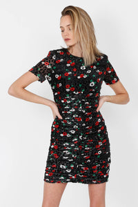 THE KOOPLES | Velvet Burnout Naive Floral Dress - Black/Green