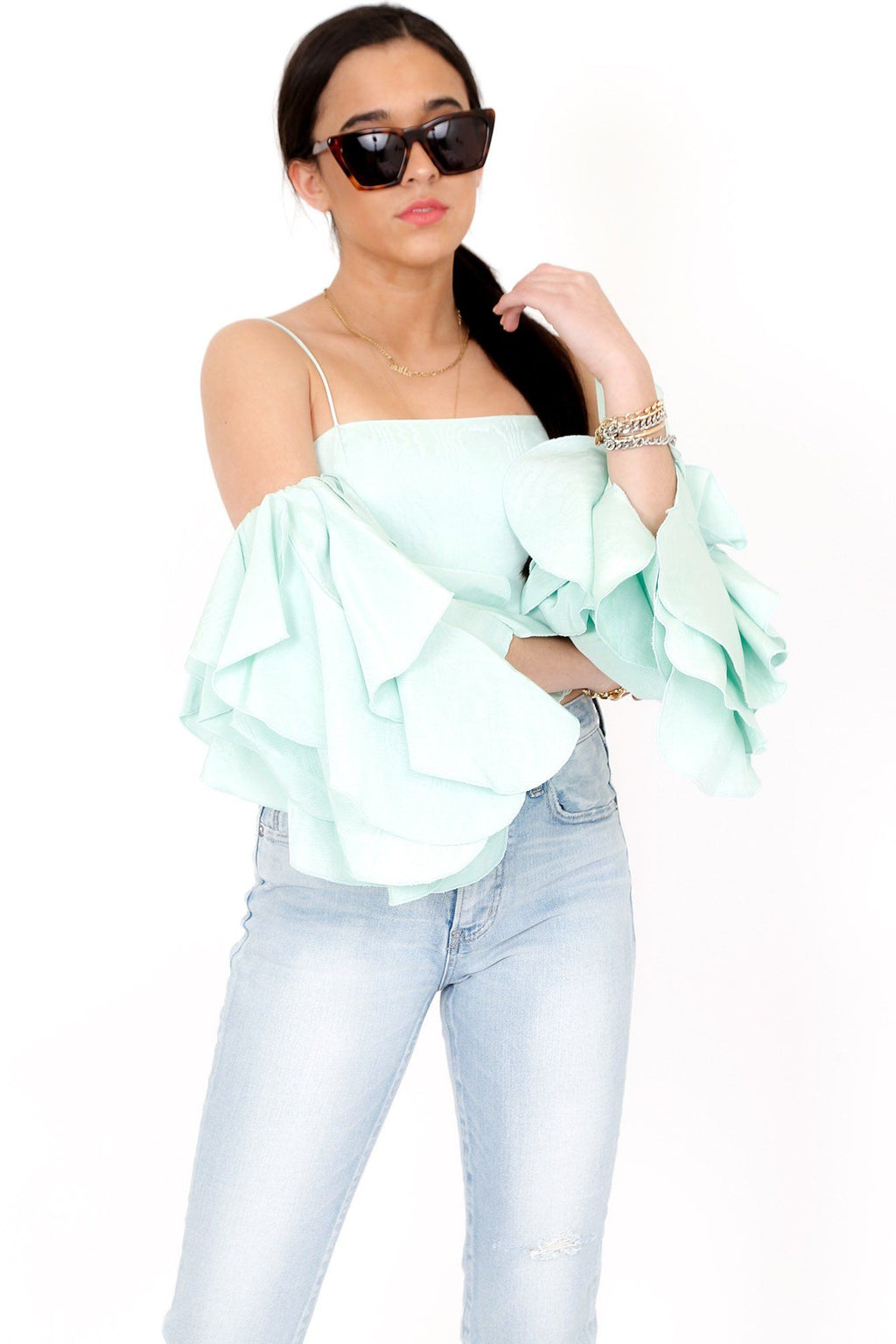 ALICE + OLIVIA | Nakia Mint Cold Shoulder Crop Top