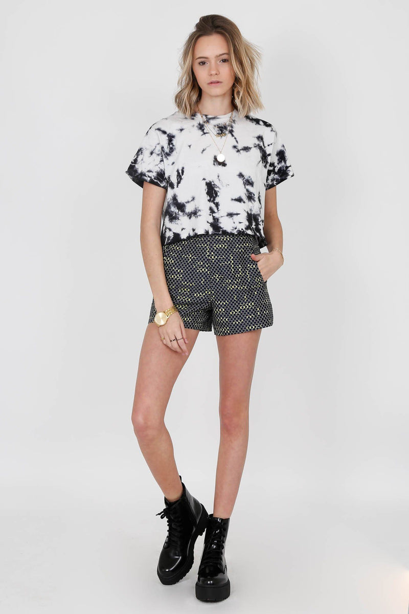BLAQUE LABEL | High Waist Jacquard Shorts - Navy