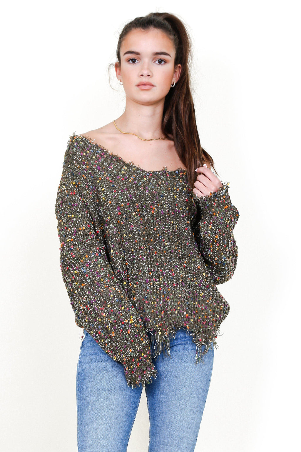 Confetti Fun Sweater - Olive