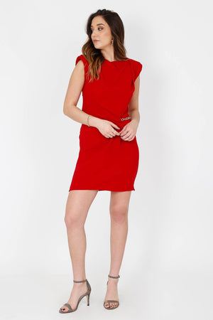 THE KOOPLES | Crepe Tango Dress + Chains - Red