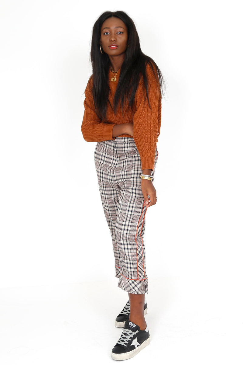 LINE + DOT | Quinn Side Stripe Plaid Pants