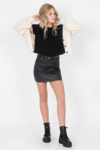 Leaving You Leather Skirt