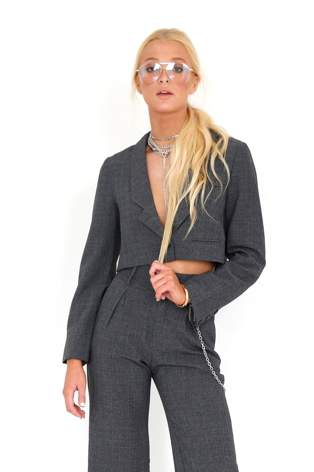 FOR LOVE & LEMONS | Turner Crop Blazer - Houndstooth