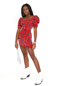 4SI3NNA | Not Your Basic Zebra Mini Dress - Red