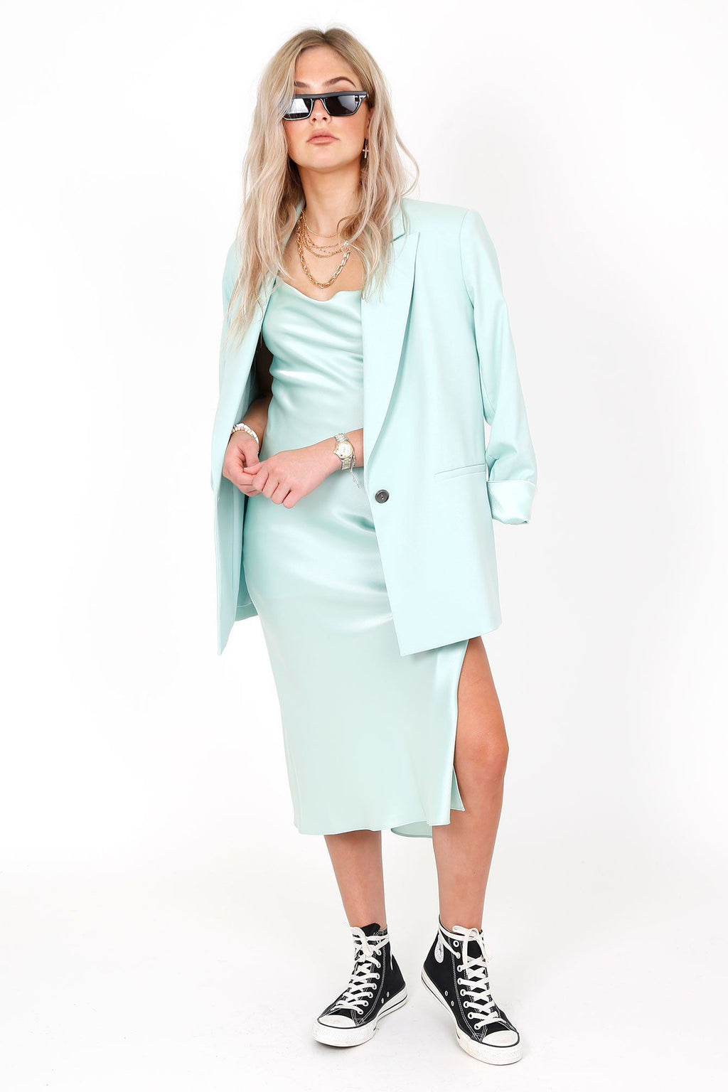 ALICE + OLIVIA | Denny Mint Notch Collar Blazer