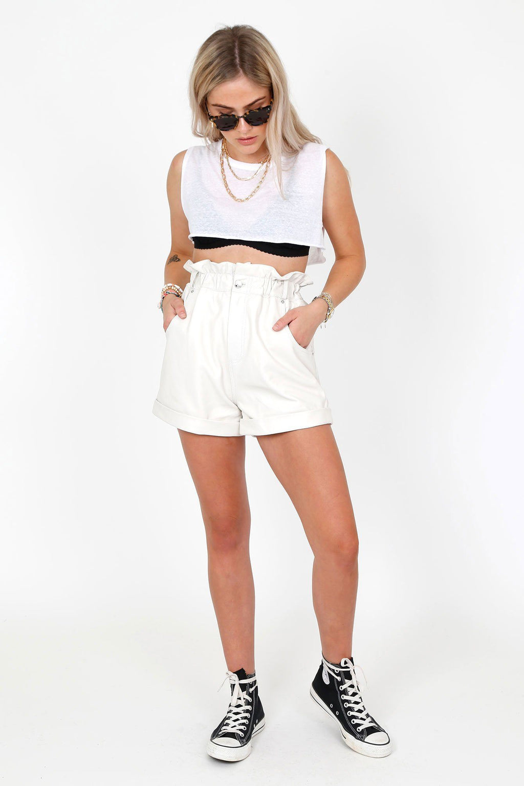 GRLFRND | Shea Leather Shorts - Bone