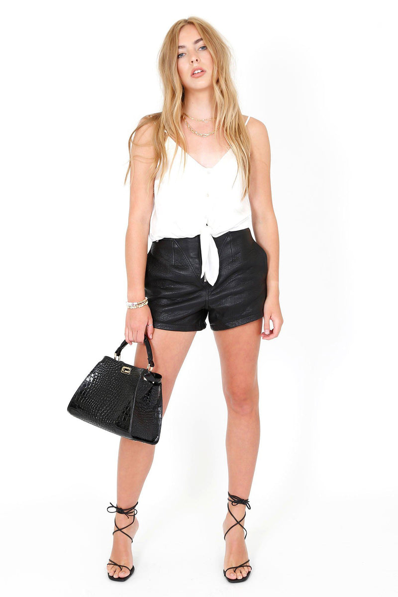 GRLFRND | Sandy Leather Shorts - Black