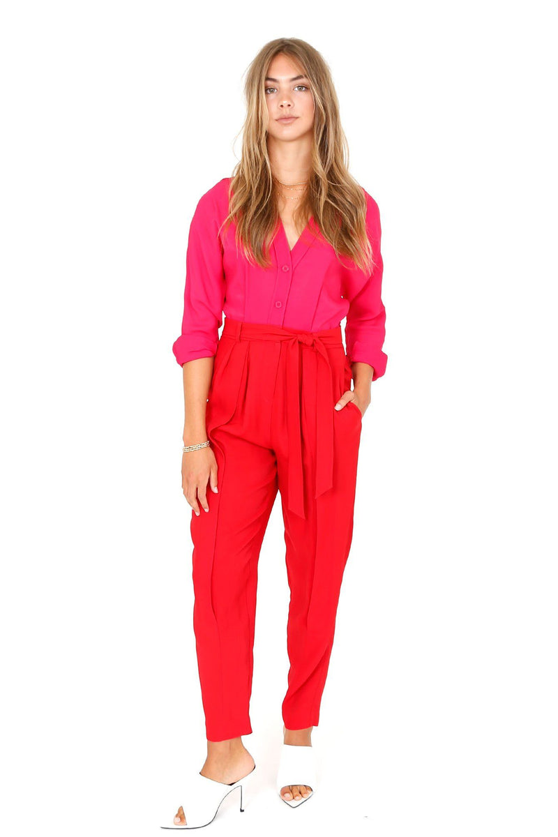 EQUIPMENT | Zephrina Jumpsuit - Lily Pink + Haute Red