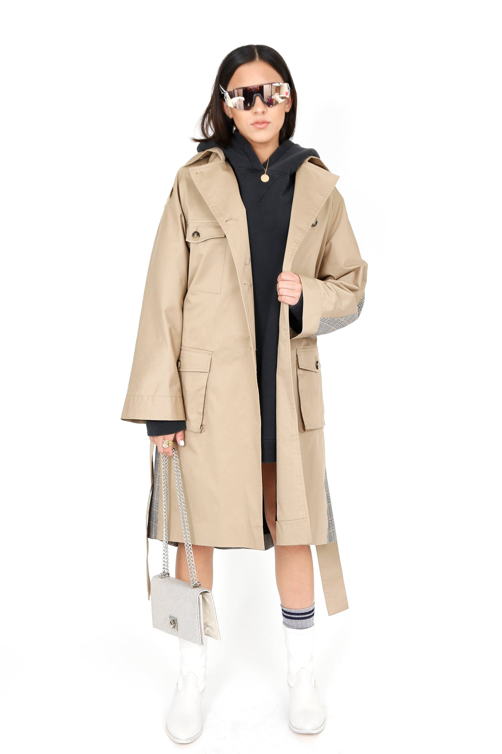 THE KOOPLES | Long Carreaux Trench - Beige
