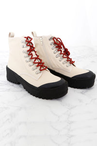 JEFFREY CAMPBELL | Finches Boot - Beige Canvas + Black