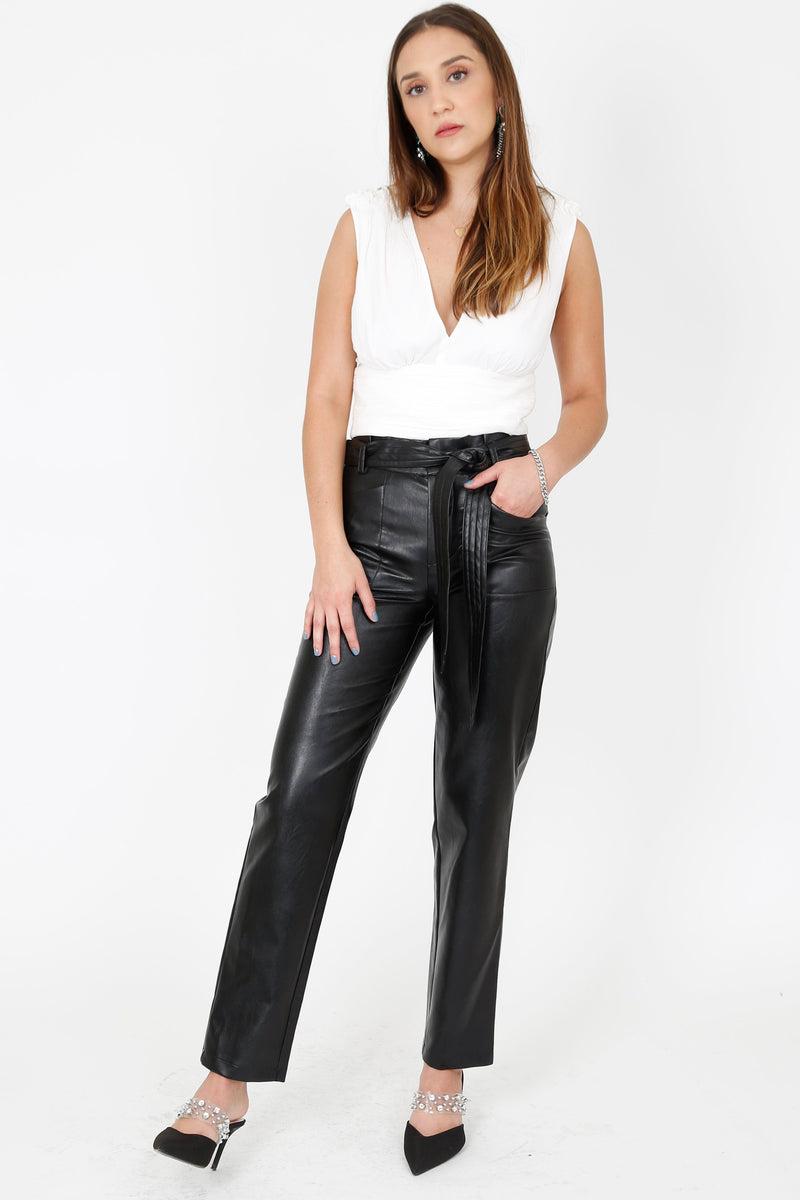 ALEXIS | Castile Leather Pants - Black