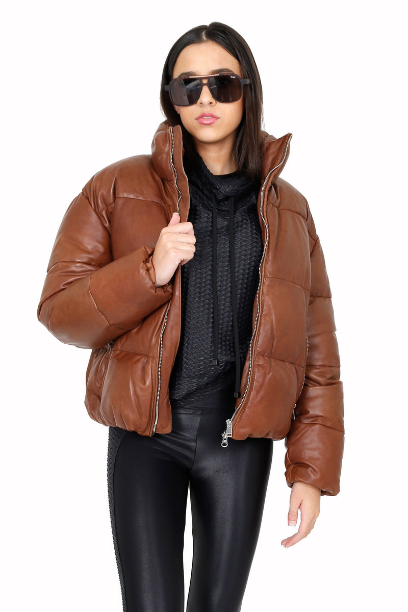LAMARQUE | Iris Leather Puffler Jacket - Cognac