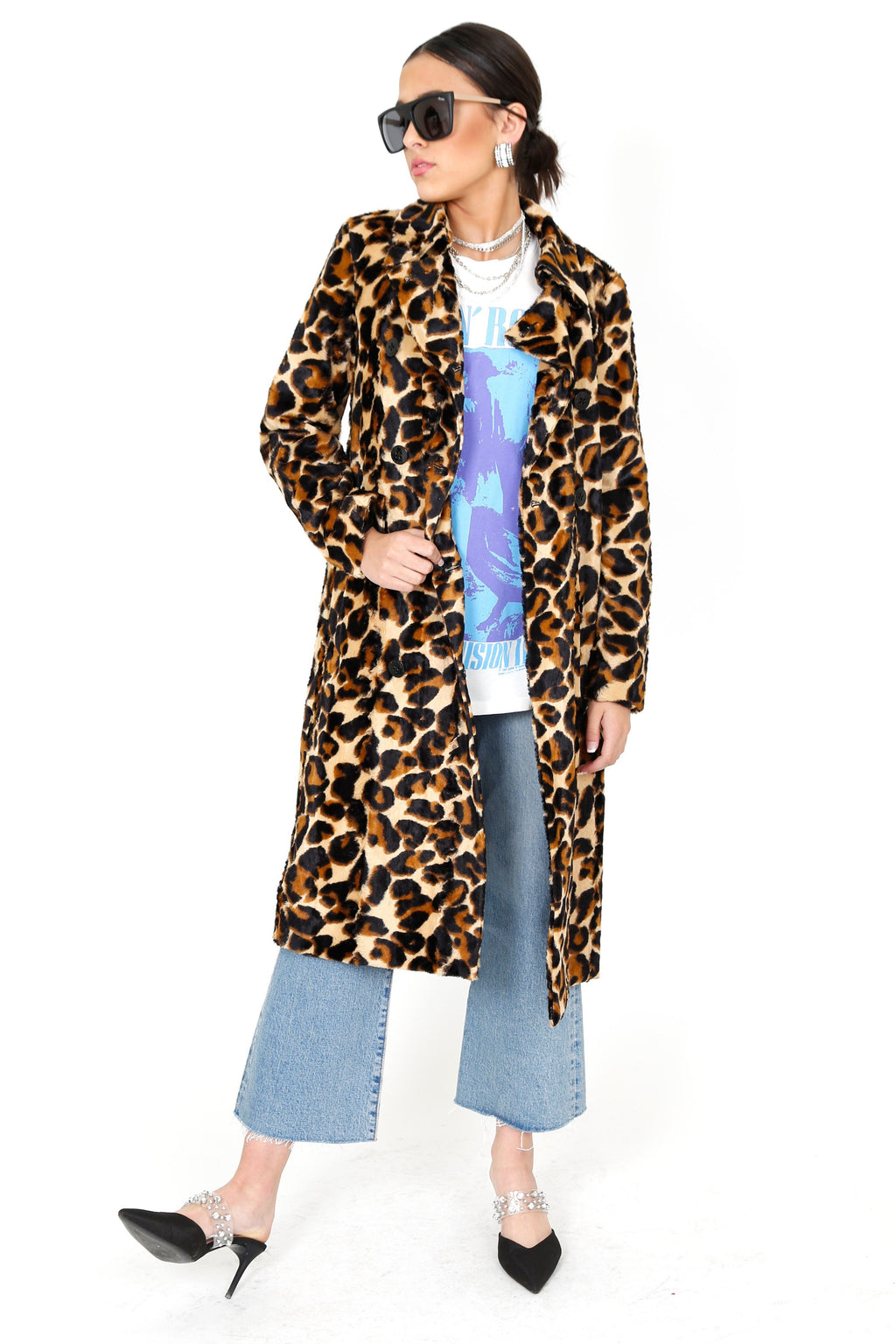 SCOTCH & SODA | Leopard Faux Fur Trench