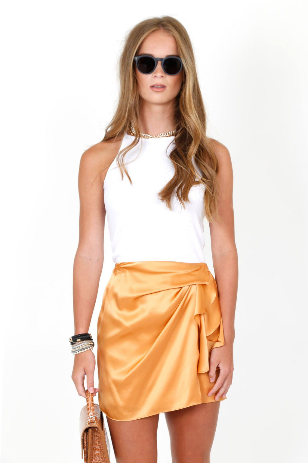 MICHELLE MASON | Tucked Mini Skirt - Apricot Silk