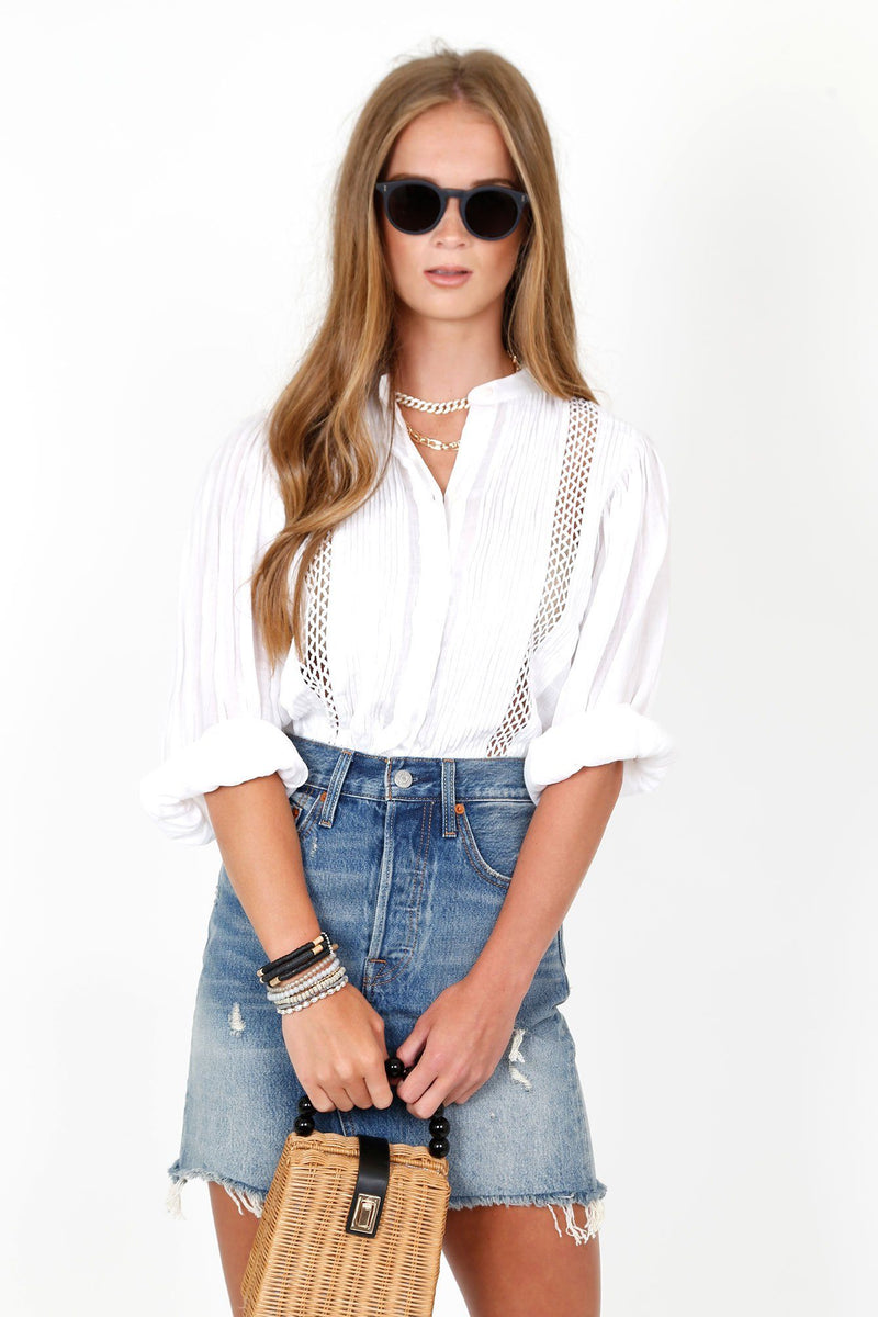 FRAME | Lace Button Front Top - Blanc