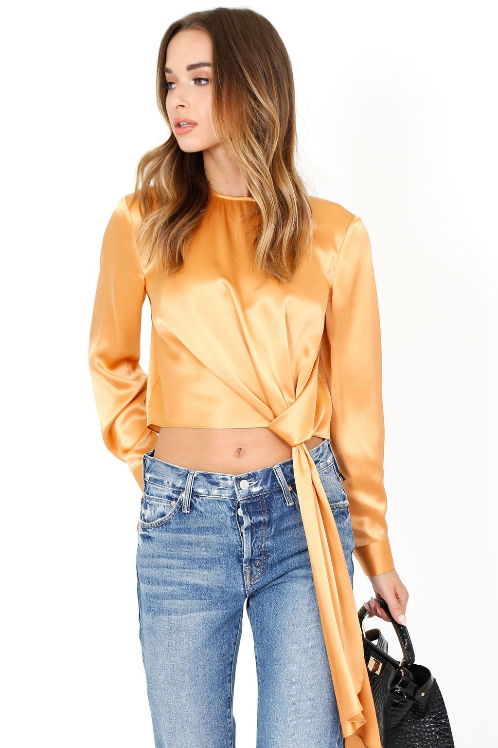 MICHELLE MASON | Long Sleeve Silk Top - Apricot