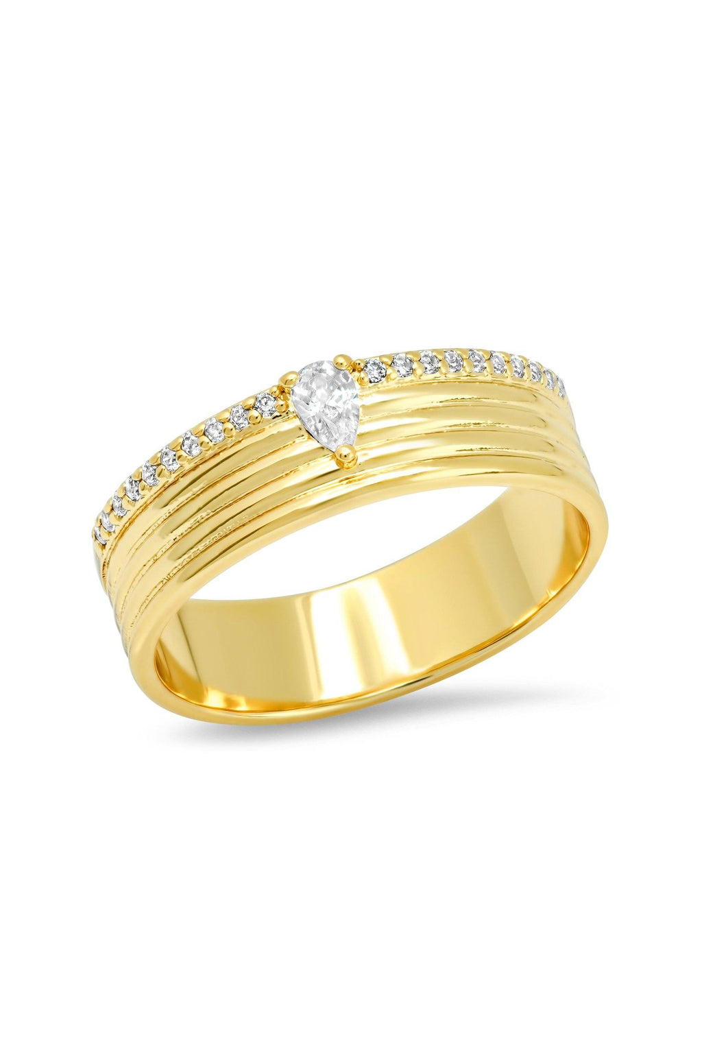 TAI | Gold Ribbed Ring + CZ Accents