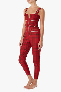 WE WORE WHAT | Plaid Moto Overalls - Pompeian Red
