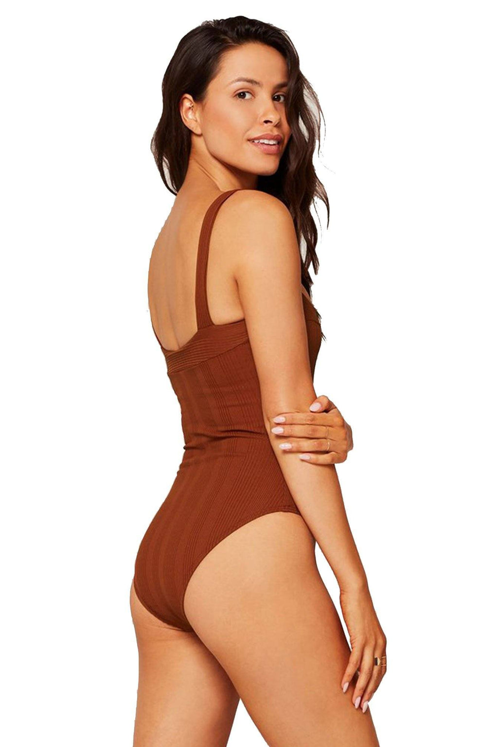 L*SPACE | Cha Cha Classic Pointelle Rib One Piece - Tobacco