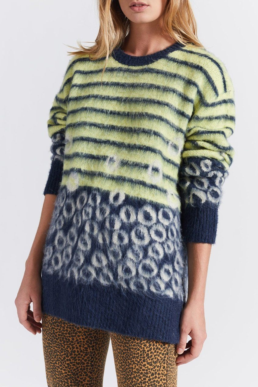 CURRENT/ELLIOTT | Wes Sweater - Stripe Leopard