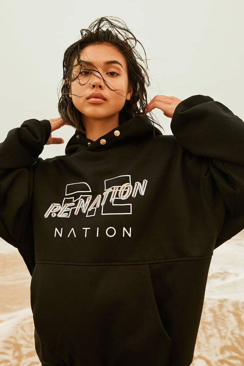P.E NATION | Strike Out Hoodie - Black + Bl/Pk Logo