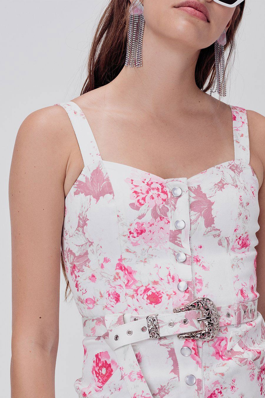 FOR LOVE & LEMONS | West Denim Mini Dress - Pink Floral
