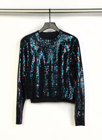 RTA | August Cropped Sweater - Black Opal