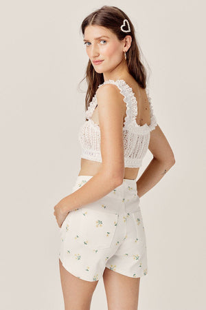 FOR LOVE & LEMONS | Cosmo Crop Top - White