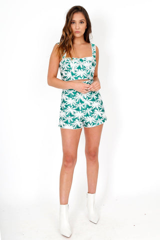 ALEXIS | Carla Shorts - Green Palm Jacquard