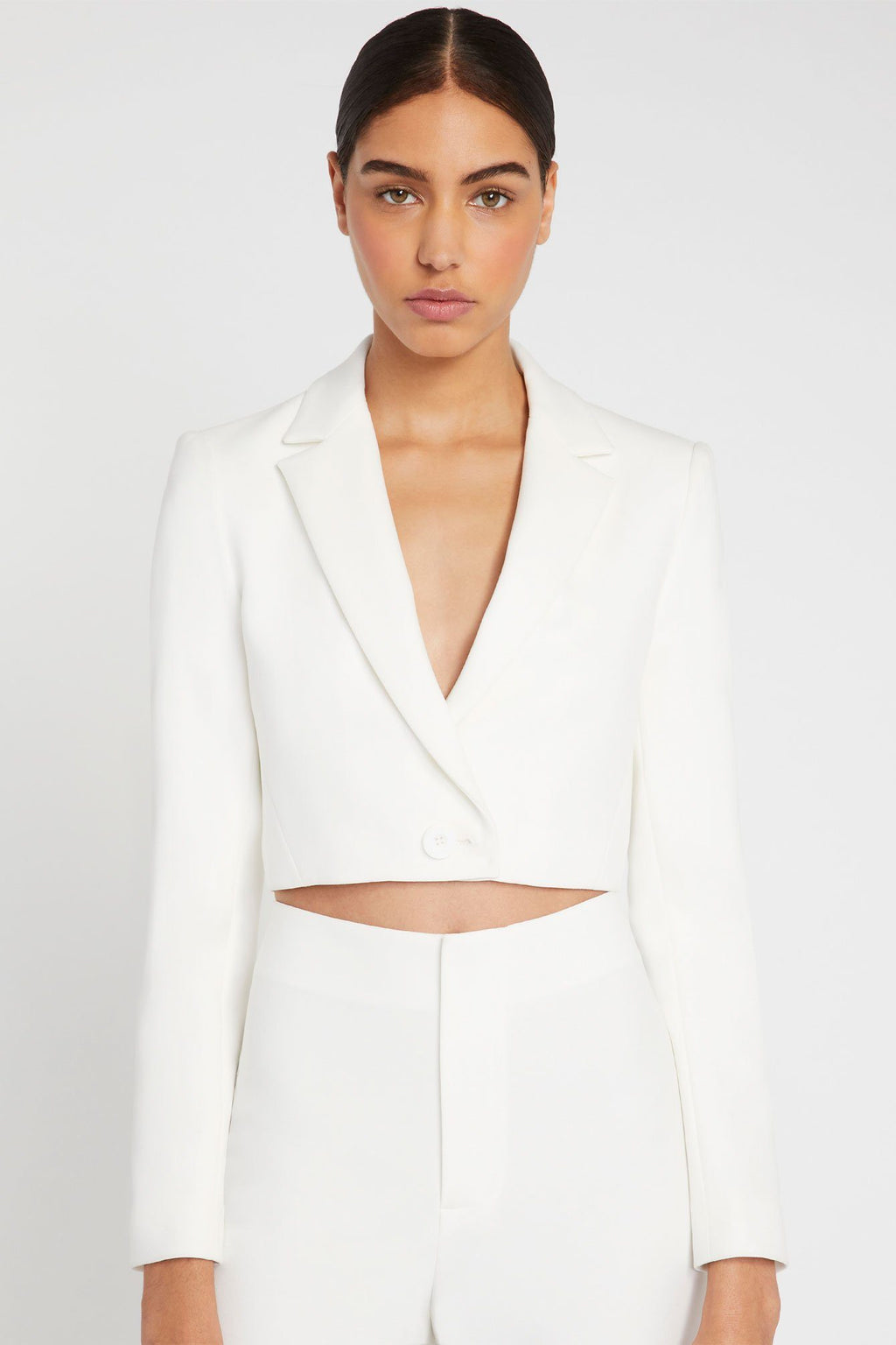 ALICE + OLIVIA | Macey Crop Notch Blazer - Off White
