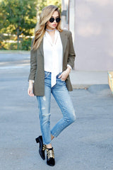 SCARLET | Perfect Blazer in Army - Scarlet Clothing  - 2