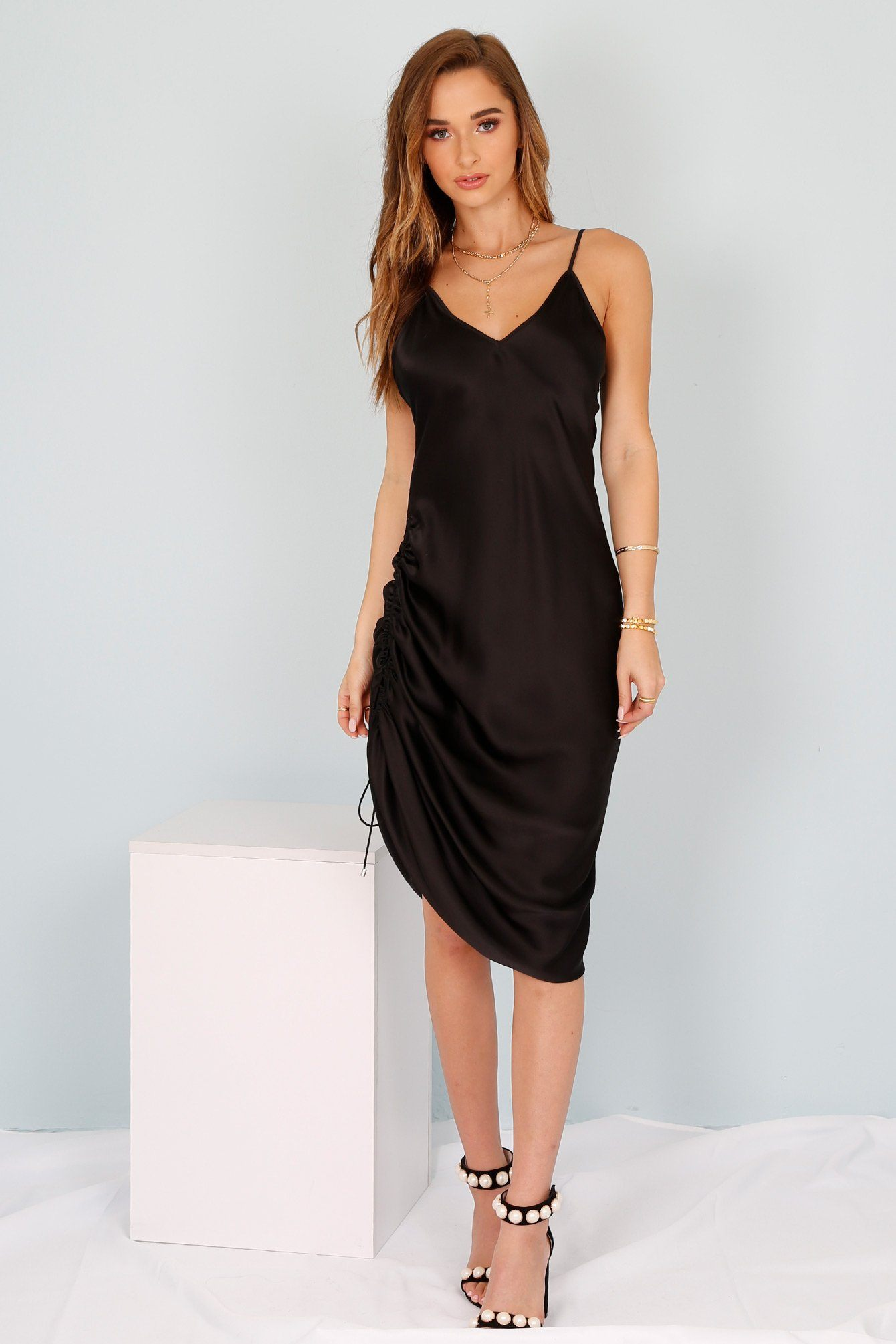 Black Silk Dresses for Women