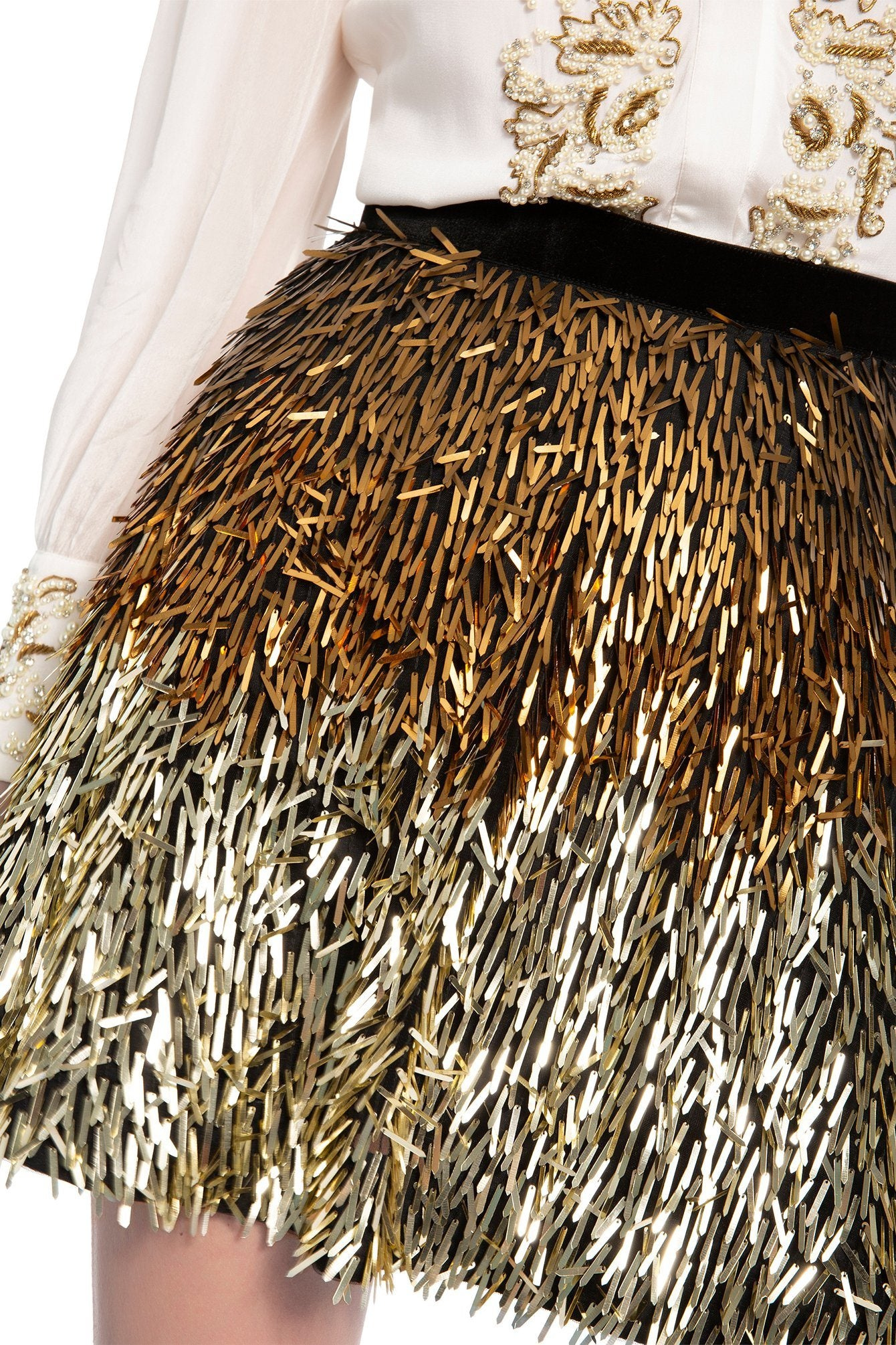 ALICE + OLIVIA | Cina Embellished Skirt - Black/Gold Ombre