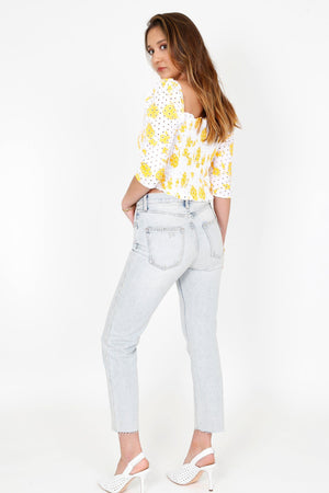 Sleeve Me Now Cinched Top - Yellow/White