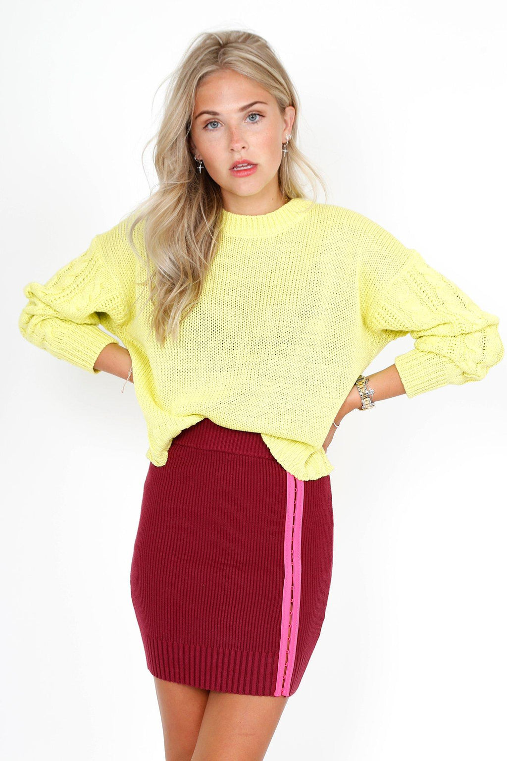 FOR LOVE & LEMONS | Paige Hook & Eye Knit Skirt - Berry