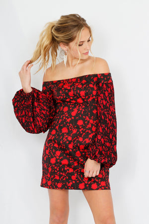 C/MEO | Only with You Mini Dress -  Black + Chili Floral