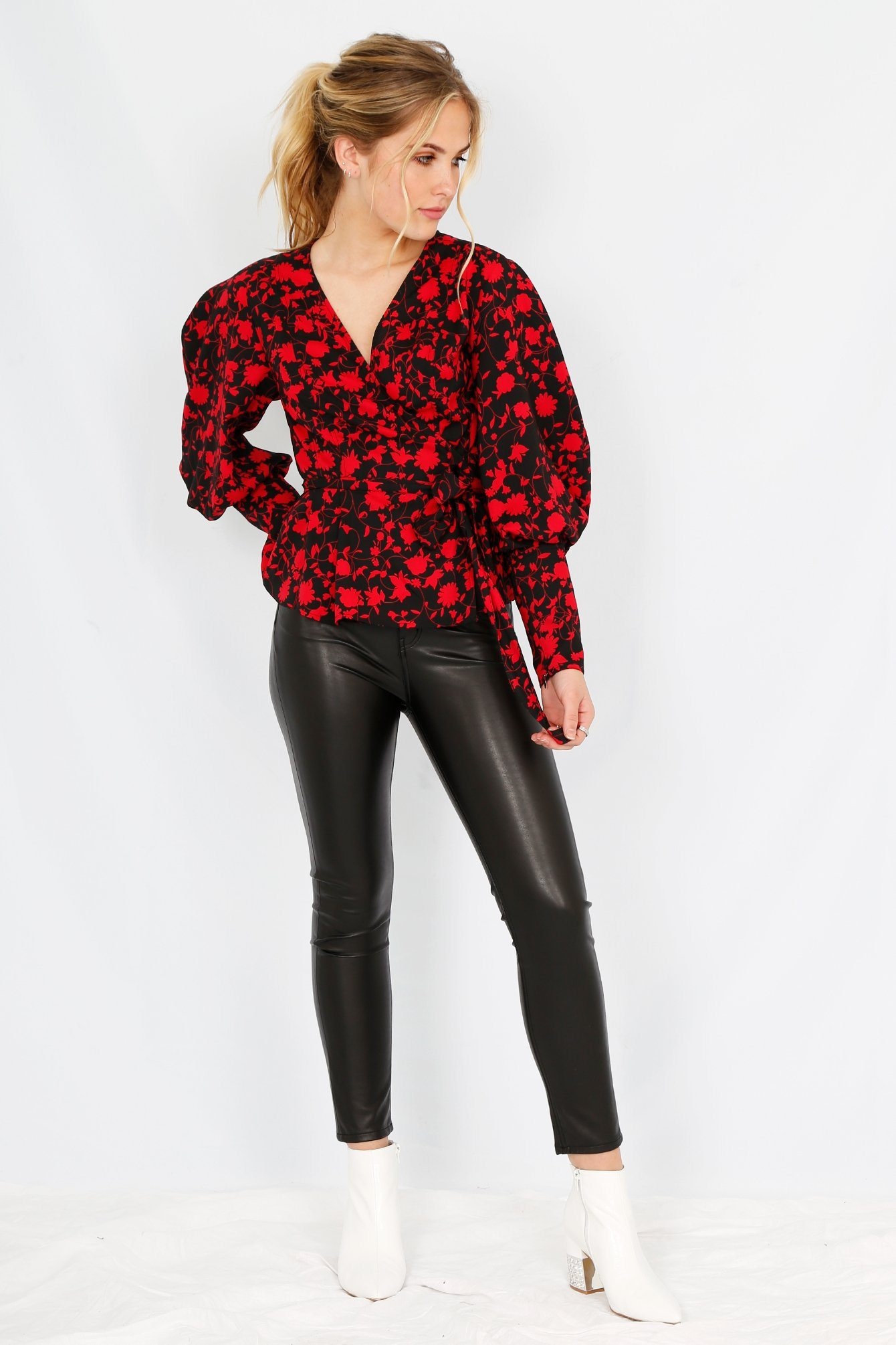 C/MEO | Opacity Top - Black + Chili Floral