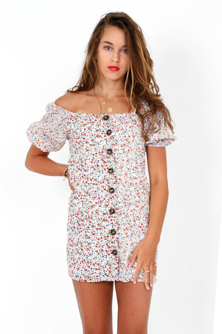 Loosen Up My Buttons Floral Dress