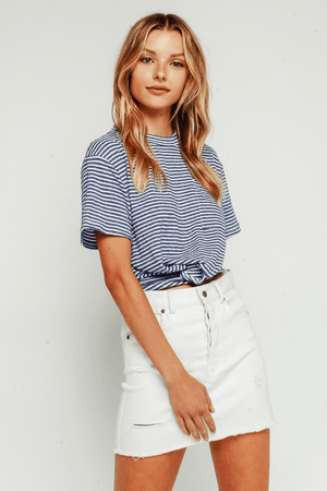 Living On A Thin Line Stripe Tee - Blue/White