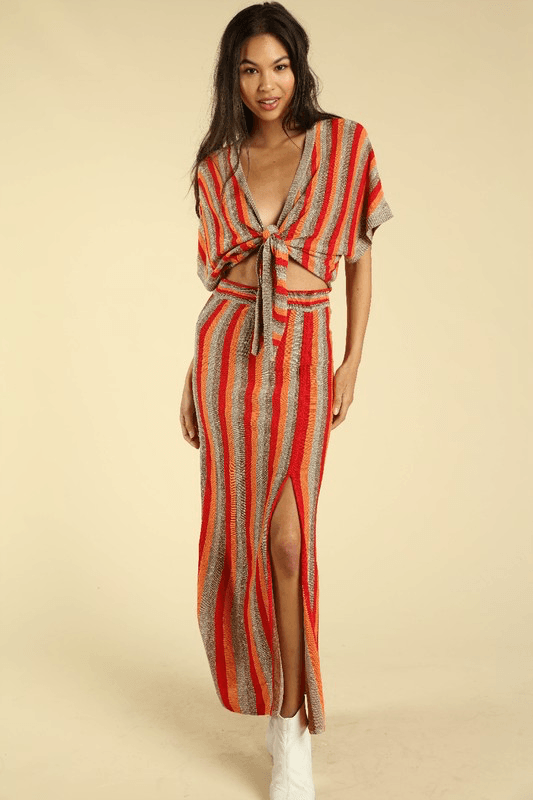 Stripe Up My Alley Tie Midi - Red/Orange
