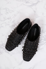 JEFFREY CAMPBELL | Baxley Studded Flat - Black