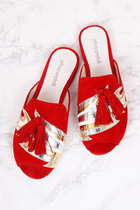 JEFFREY CAMPBELL | Talley Flats - Red Suede Flame