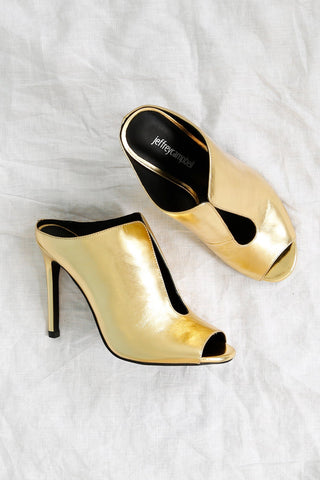 JEFFREY CAMPBELL | Inhale Heel - Gold Crinkle