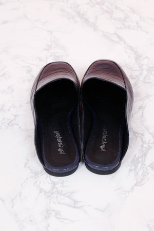 JEFFREY CAMPBELL | Worthy Flats - Navy Croc