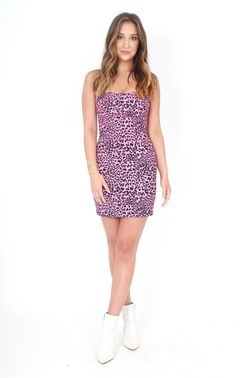 LIKELY | Neon Pink Leopard Lauren's Mini Dress