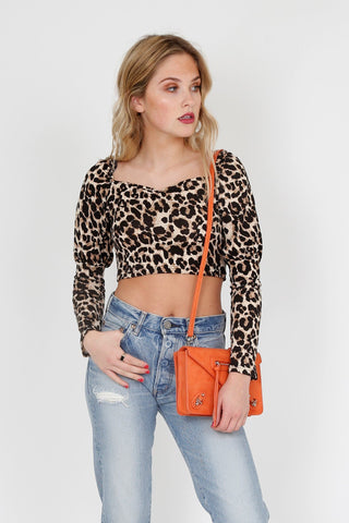 Meow You Doing Crop Blouse - Leopard