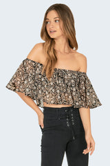 AMUSE SOCIETY | Lets Flounce Woven Top - Black Sands