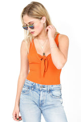 Low Profile Orange Ribbed Bodysuit