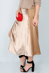 MICHELLE MASON | Midi Slip Skirt - Gold
